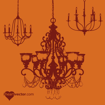 Grungy Antique Chandelier Pack - Free vector #171493