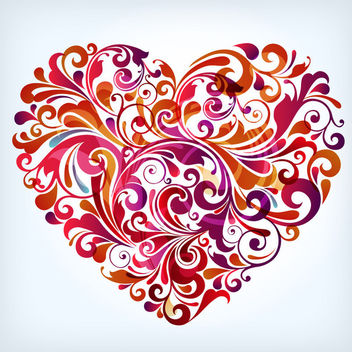 Colorful Swirling Floral Shaped Heart - vector gratuit #171503