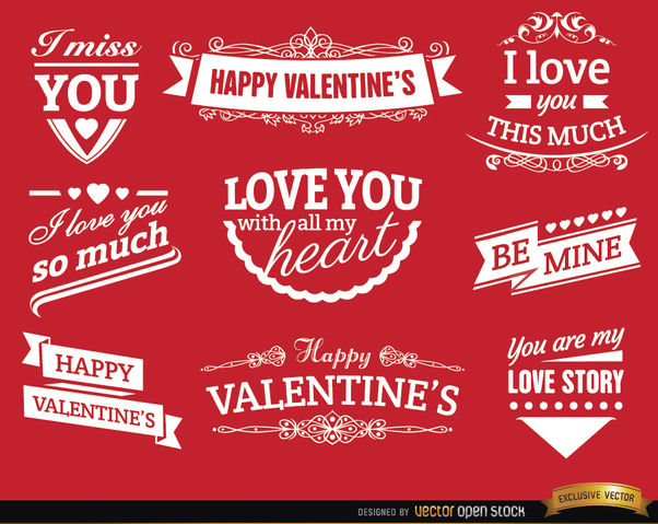 Valentine's Day love badges - vector gratuit #171513