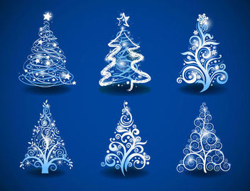 Swirling Floral 6 Christmas Trees on Blue Background - Free vector #171563