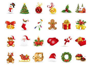 Beautiful Funky Christmas Icon Pack - Free vector #171593