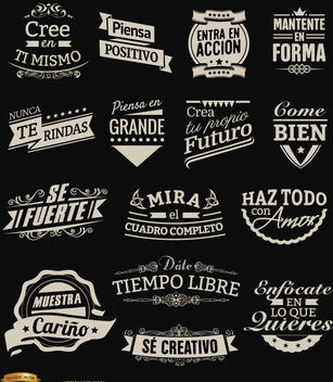 15 motivational vintage labels badges Spanish - Free vector #171603