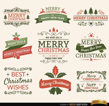 Merry Christmas ribbons and labels set - Free vector #171613