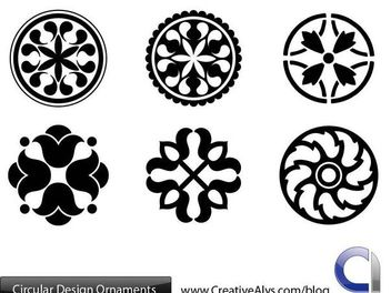 Black & White Circular Ornament Pack - бесплатный vector #171633