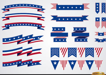 USA colors ribbons set - vector #171643 gratis