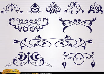Several leaves floral and swirl ornaments - Free vector #171673