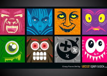 Crazy Faces Set - Free vector #171743