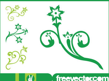 Swirly Flowers with Blossoms and Petals - Free vector #171753