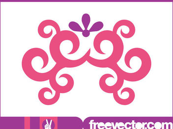 Pinkish Swirls & Floral Ornament - Free vector #171763