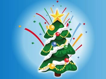 Decorated Christmas Tree Cartoon - vector gratuit #171803