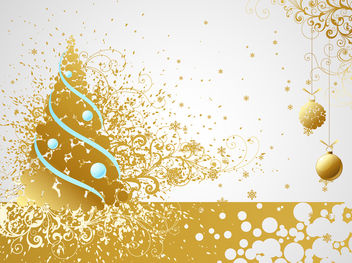 Swirly Ornamental Xmas Card Layout - Free vector #171813