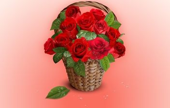 Realistic Bunch of Rose in Basket - vector gratuit #171883