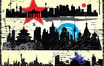 Grungy Silhouette City Pack - Free vector #171993