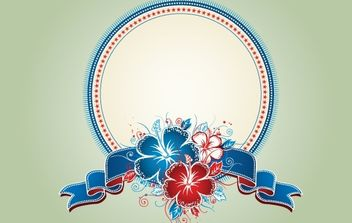 Vintage Decorative Floral Badge - Free vector #172053