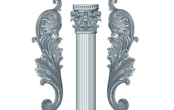 Vintage Floral Ornamental Pillar - Free vector #172073