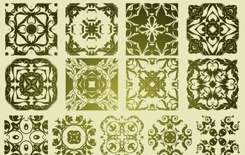16 Antique Floristic Vector Patterns - vector gratuit #172393