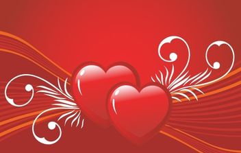 Two cute valentines hearts - vector gratuit #172403