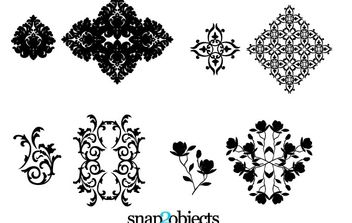 Four Vector Floral Ornaments - vector gratuit #172703