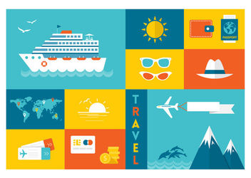 Minimal Travel & Tourism Icon Set - Free vector #172933