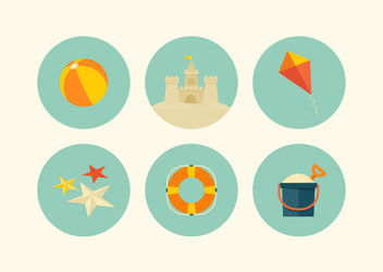 Summer Beach Retro Icon Set - vector gratuit #172943