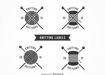 Retro Knitting Label Pack - Free vector #172953
