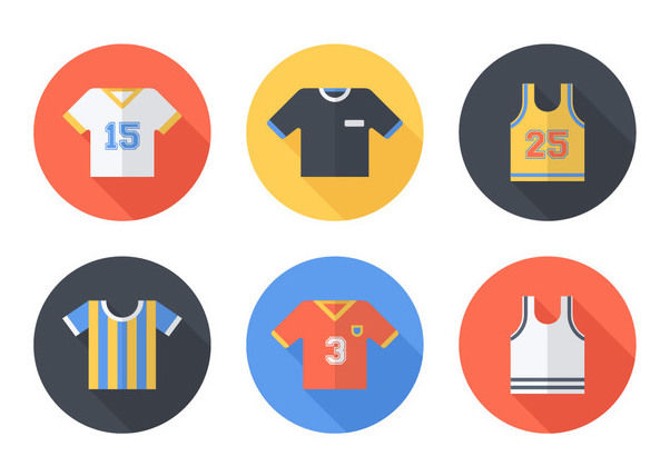 Colorful Jersey & Sportswear Icon Set - vector gratuit #172973