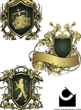 Heraldic Shield Decorative Emblems - Free vector #173003