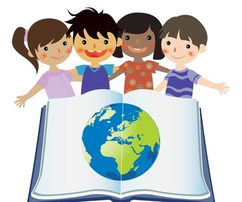 Group Studying Kids with Globe in Open Book - бесплатный vector #173063