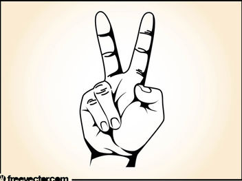 The Peace Sign V by Hand Gesture - vector gratuit #173093