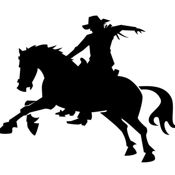 Silhouette Cowboy on the Back of a Horse - vector gratuit #173103