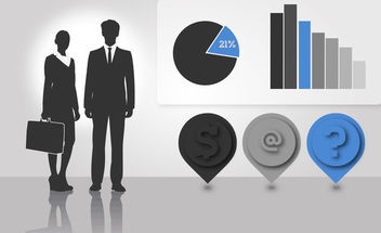 Silhouette Business People with Info-graphics - vector gratuit #173113