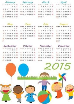 2015 Calendar with Kids Playing Beneath - бесплатный vector #173133