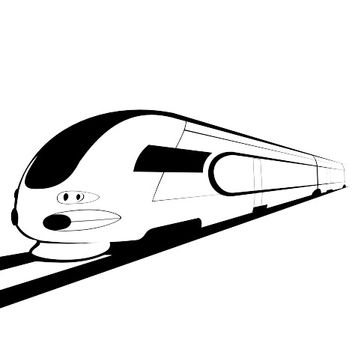 Abstract Sketch Black & White Bullet Train - Free vector #173203