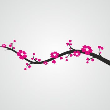 Silhouette Sakura Branch with Pinkish Flowers - vector gratuit #173213