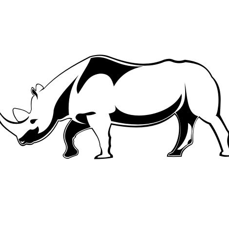 Line Art Black & White Rhino - vector gratuit #173223