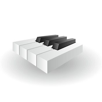 Glossy Piano Keys Icon in 3D - vector gratuit #173233
