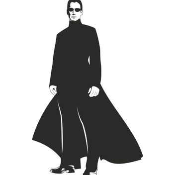 Neo Matrix Silhouette Portrait of Keanu Reeves - vector #173263 gratis