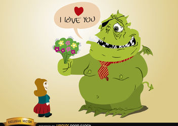 Monster love with flowers for girl - vector gratuit #173383