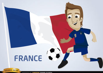 France football player with flag - vector gratuit #173393