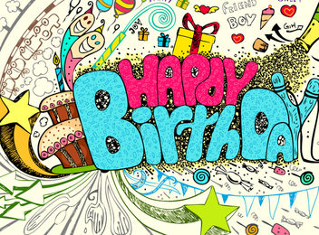 Kids Birthday Party Artistic Poster Design - Free vector #173413