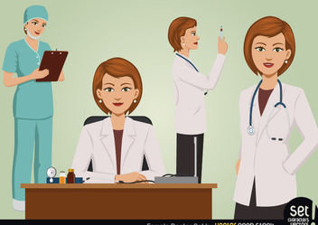 Female Doctor Set - vector gratuit #173463