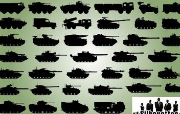 Military Vehicle Pack Silhouette - Free vector #173643