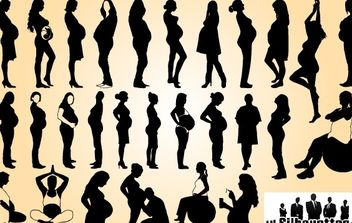 Pregnant Ladies Pack Silhouette - vector gratuit #173703