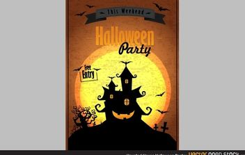 Haunted house Halloween poster - vector gratuit #173783