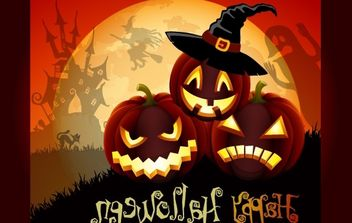 Cute Halloween Art with Pumpkins - бесплатный vector #173793
