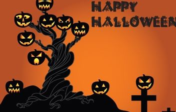 Halloween Tree with Pumpkins - Kostenloses vector #173813