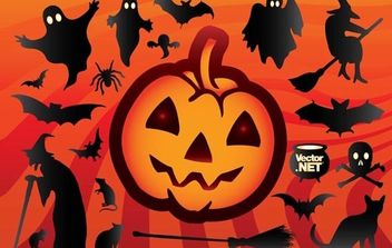 Funky Halloween Object Set - Free vector #173843