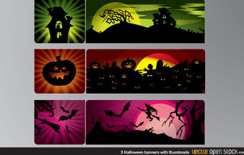 3 Halloween Banners with thumbnails - vector gratuit #173863