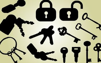 Lock and Key Pack Silhouette - Kostenloses vector #173873
