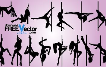 Sexy Pole Dance Pack Silhouette - бесплатный vector #173883